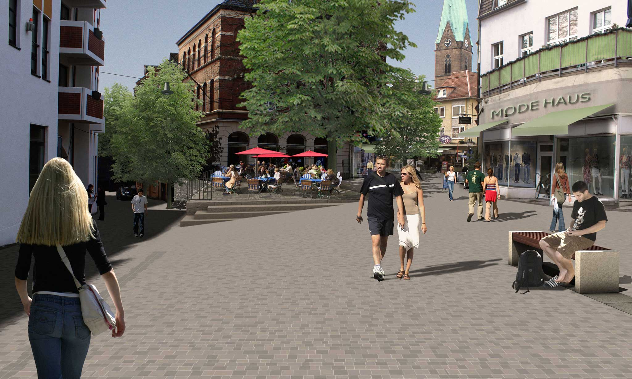 Landschaftsarchitektur Minden Fußgängerzone - Perspektive