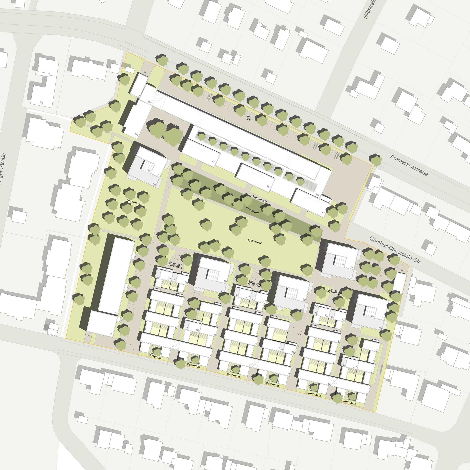 Realisierungswettbewerb Landschaftsarchitektur Ehemaliges AOA-Gelände - Lageplan