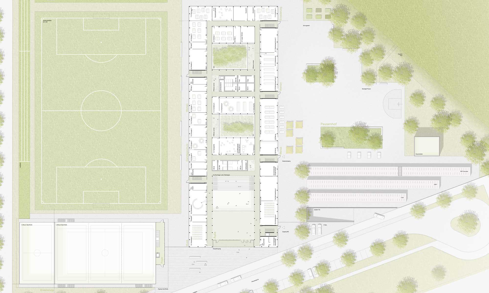 Wettbewerb Landschaftsarchitektur Realschule Landshut - Grundriss