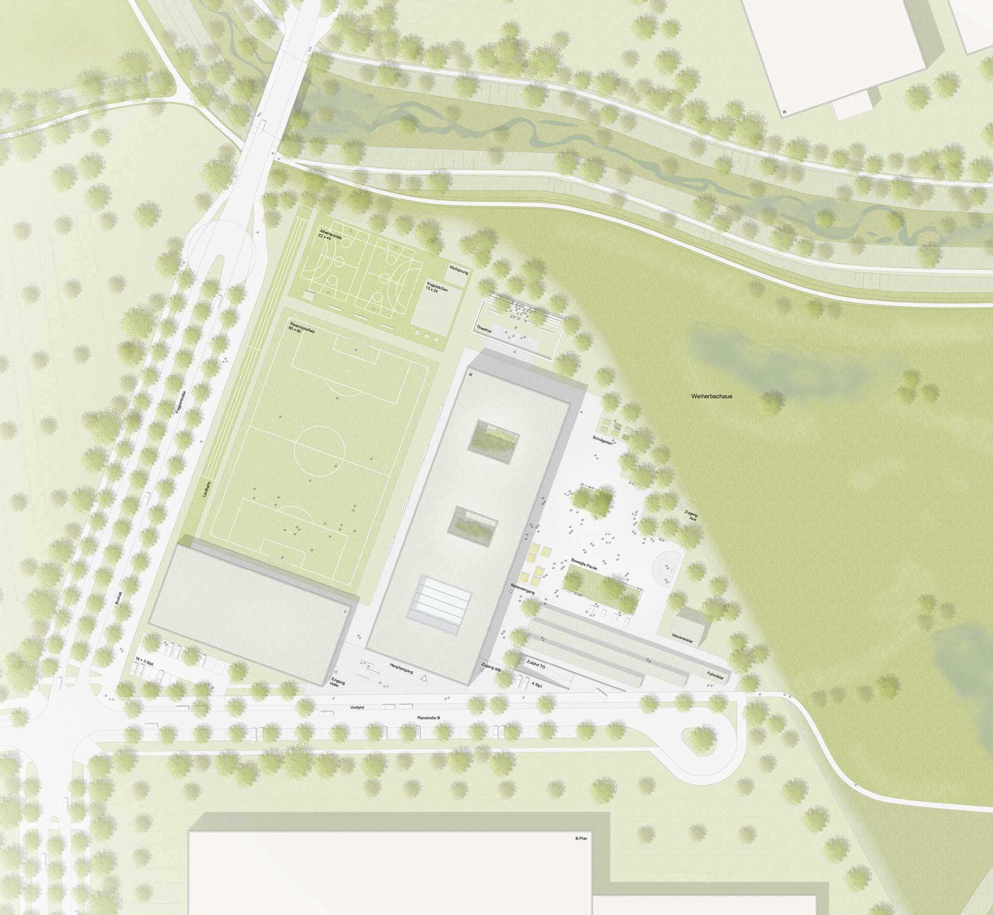 Wettbewerb Landschaftsarchitektur Realschule Landshut - Lageplan