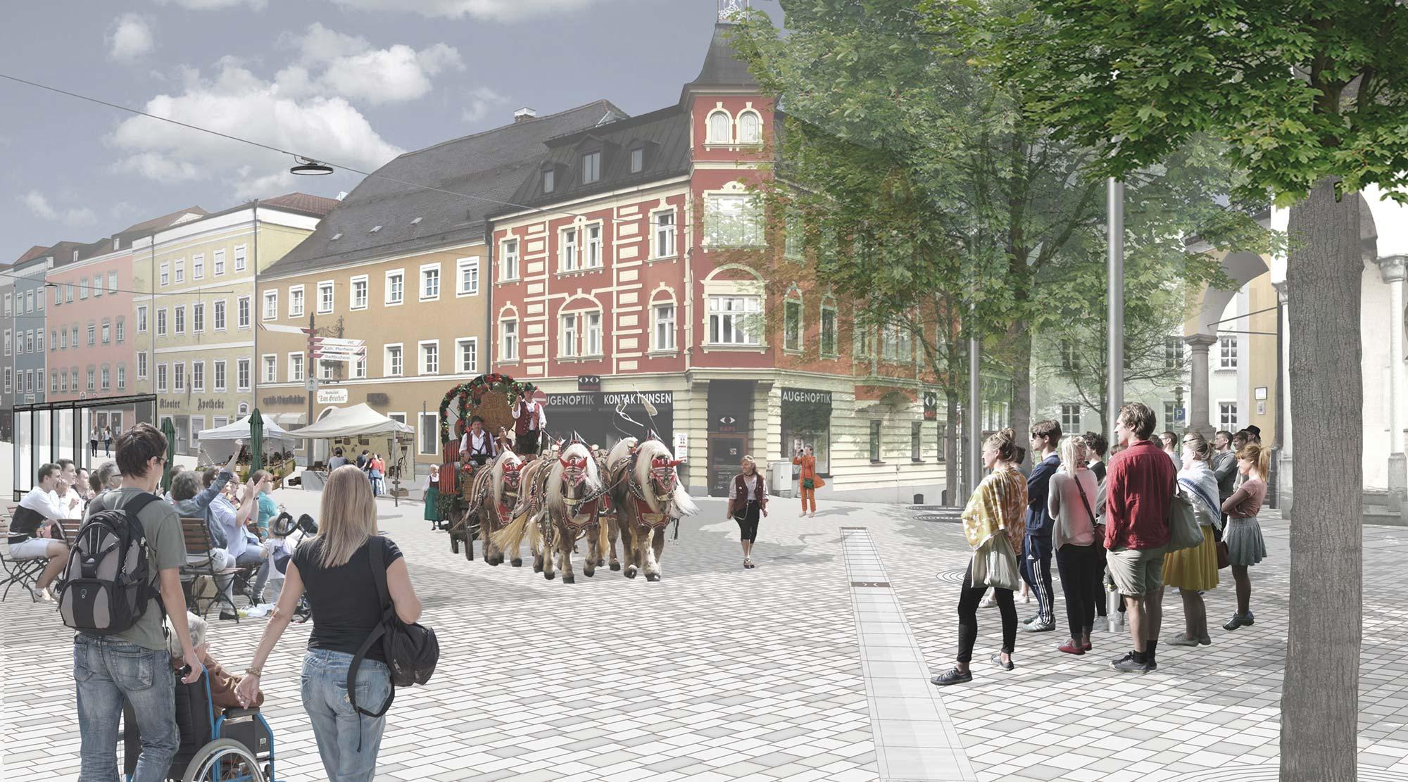 Wettbewerb Stadtplatz Vilshofen - Visualisierung 1