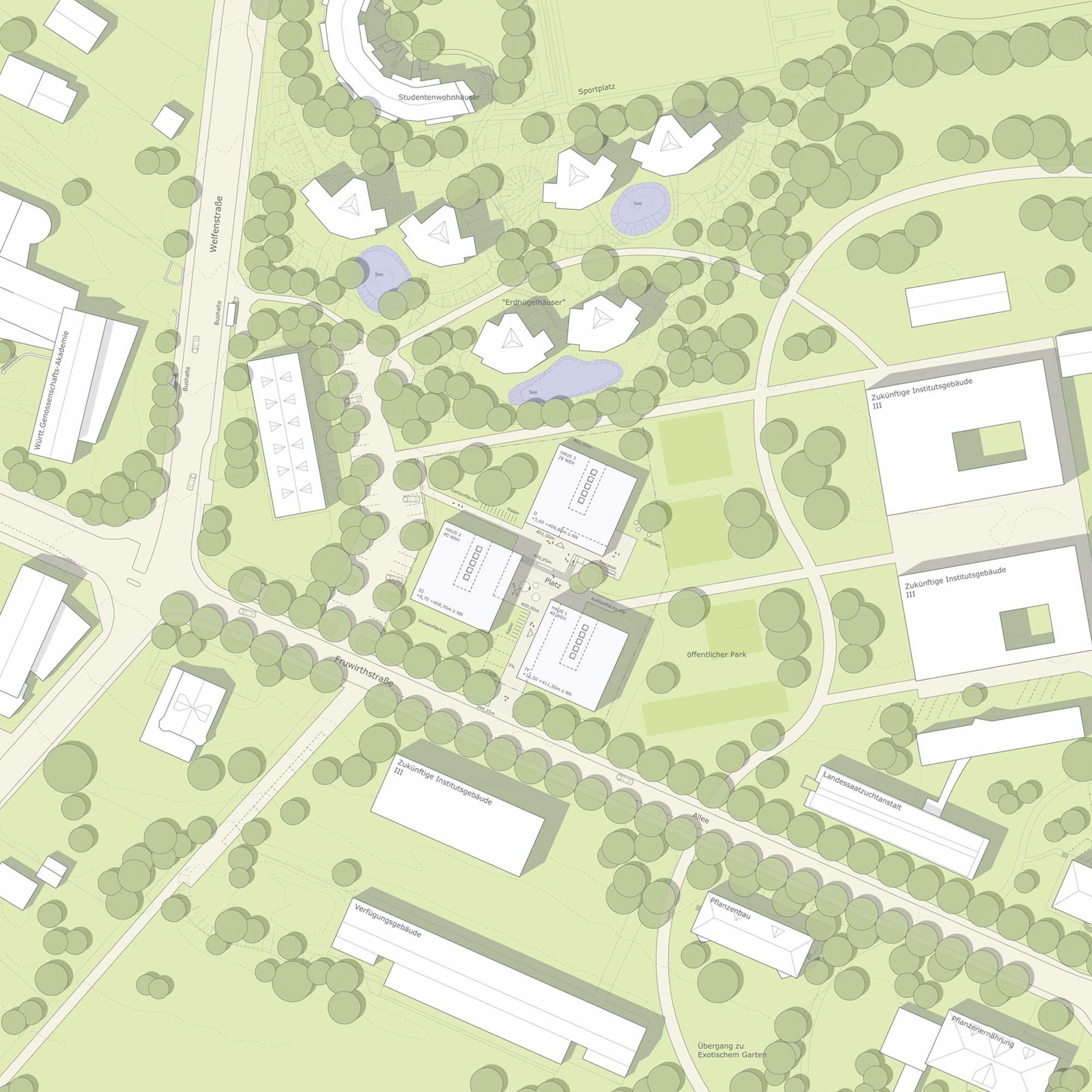 Wohnen für Studierende Stuttgart - Landschaftsarchitektur - Lageplan