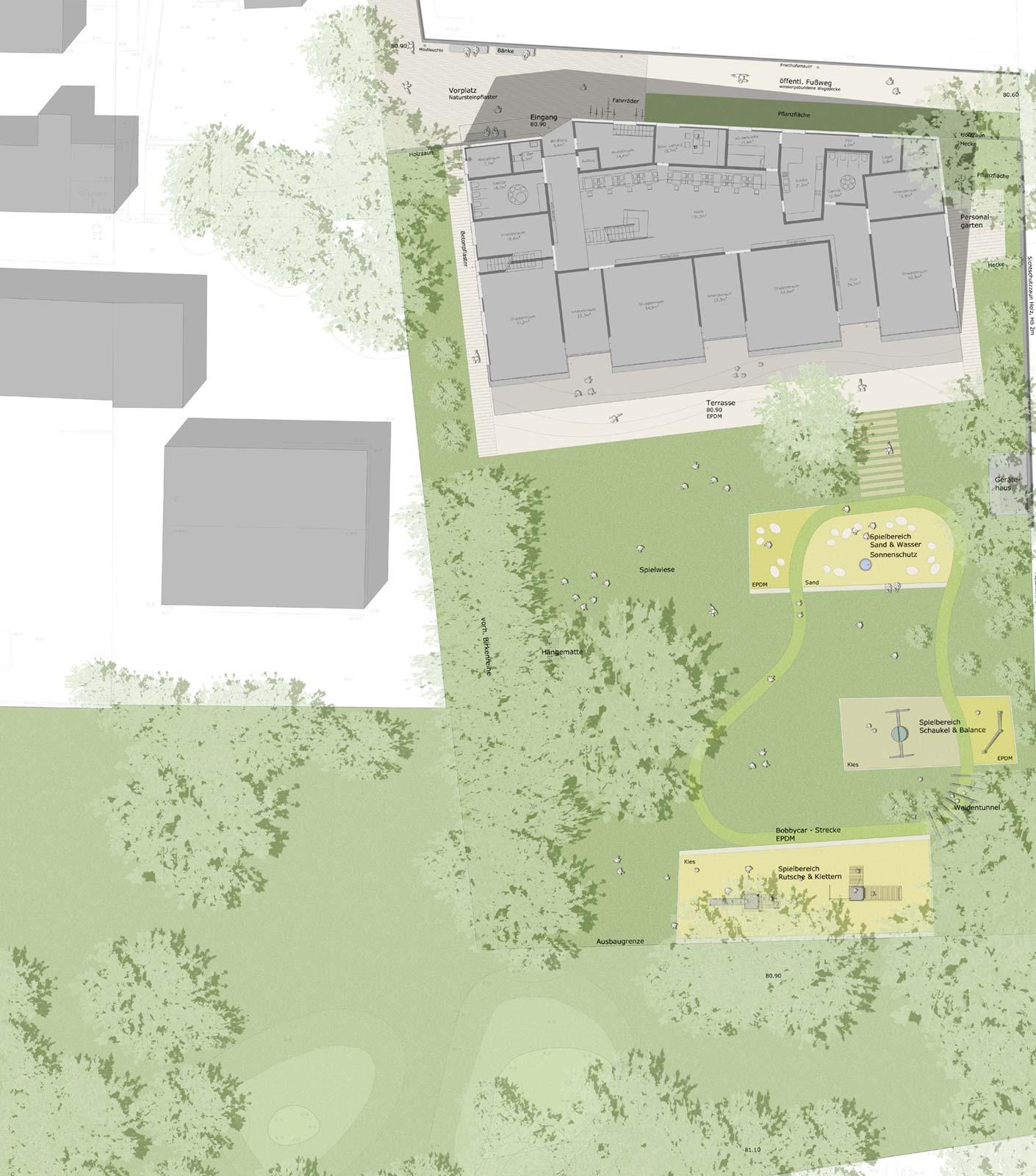 Landschaftsarchitektur Kindergarten St. Severin Garching - Grundriss