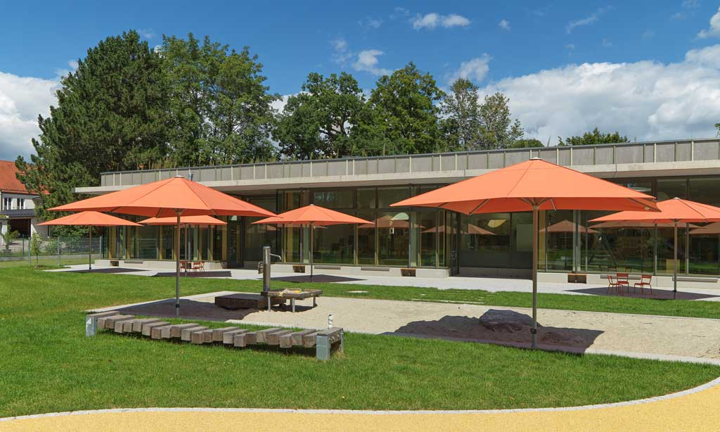 Landschaftsarchitektur Kindergarten St. Severin Garching - Sonnenschutz