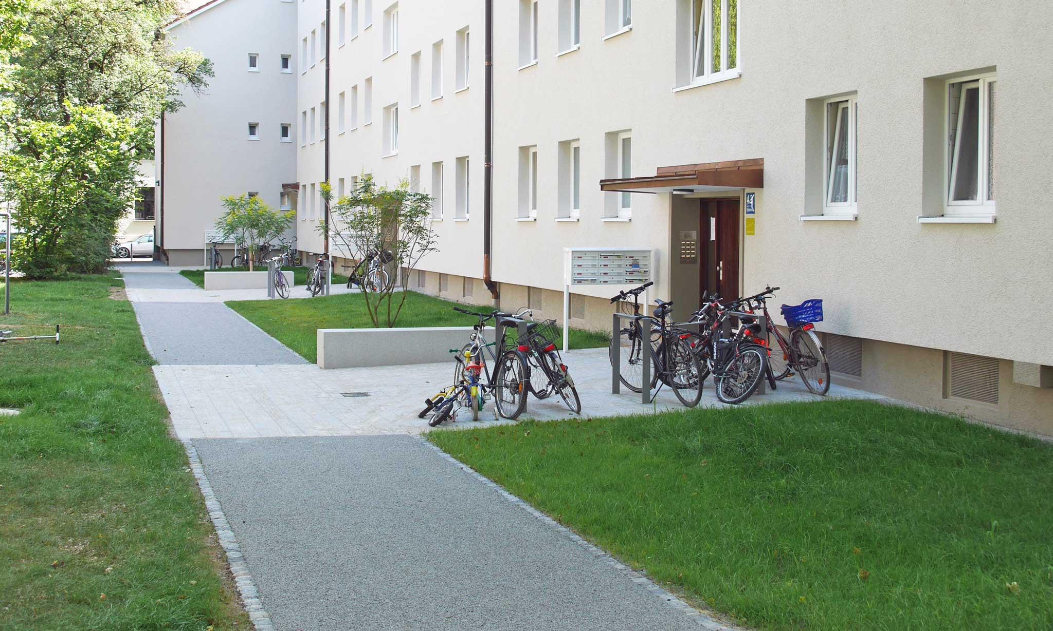 Wohnanlage Max II München - Gestaltung Freiflächen - Zugänge