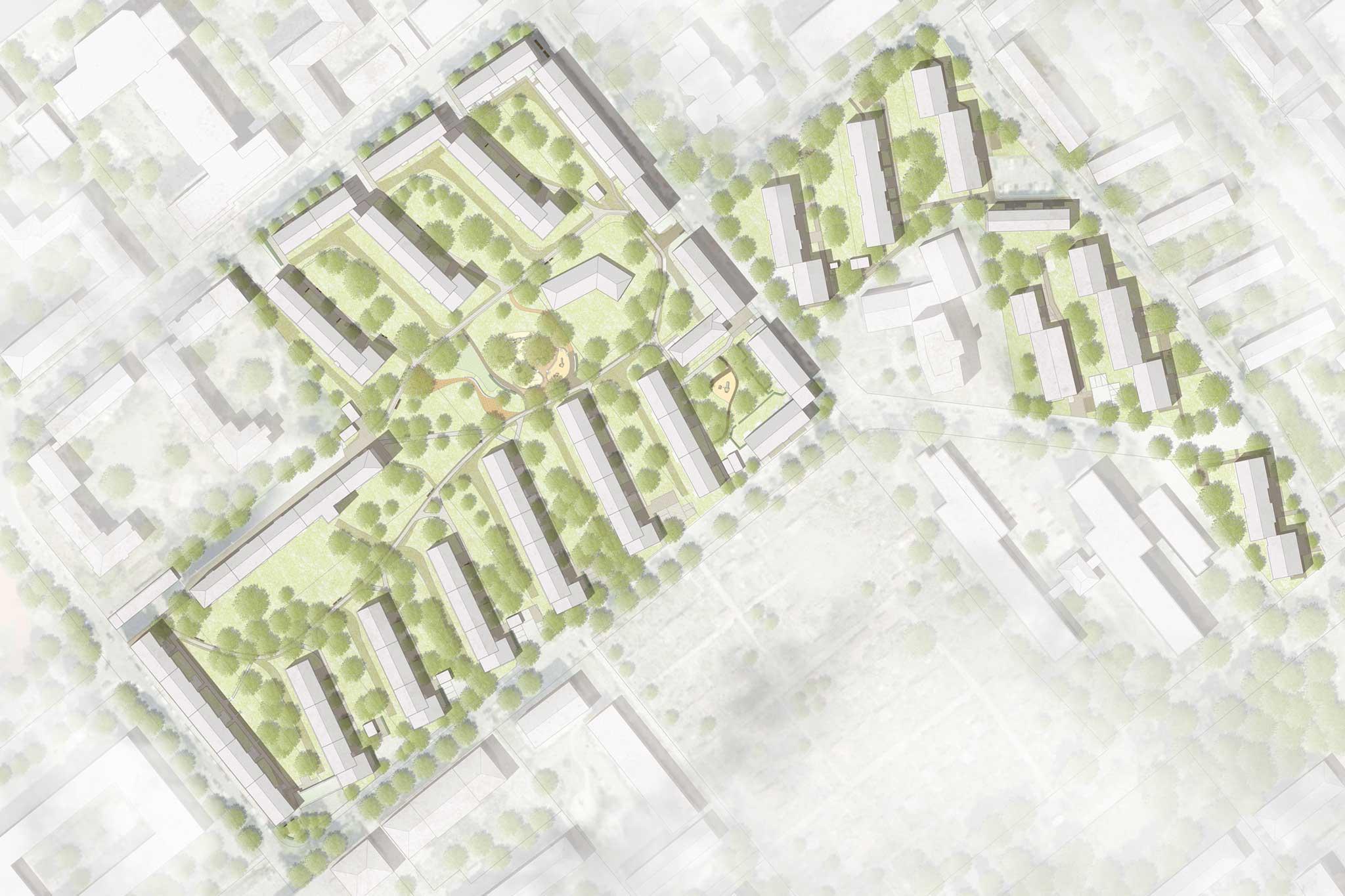 Wohnanlage Max II München - Gestaltung Freiflächen - Lageplan